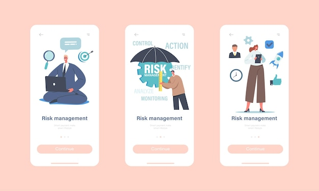 リスク管理モバイルアプリページオンボード画面テンプレート。傘を持つビジネスマン、ワークグループキャラクターは、ビジネス戦略の実装コンセプトを認め、特定し、測定します。漫画の人々のベクトル図
