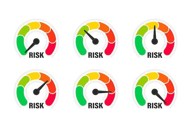 リスクメーター。スピードメーター、ベクトル図のリスクの概念。スピードメーターで低、中、高のリスクをスケーリングします。低から高までのゲージのセット。最小から最大。最小最大顧客満足度計