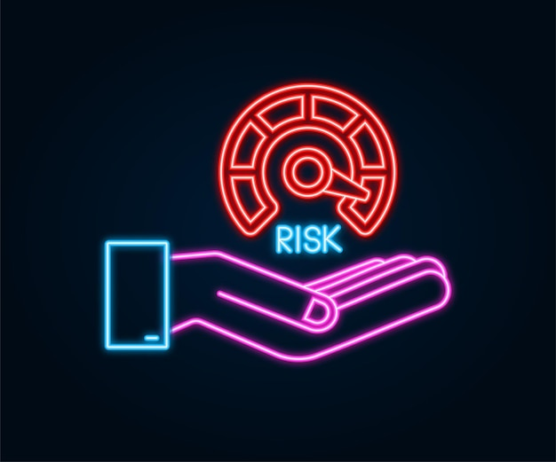 Risk neon icon on speedometer in hands. high risk meter. vector stock illustration.