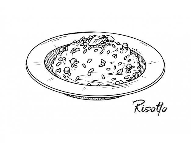 Risotto isolated on a white background. sketch italian dishes.  illustration