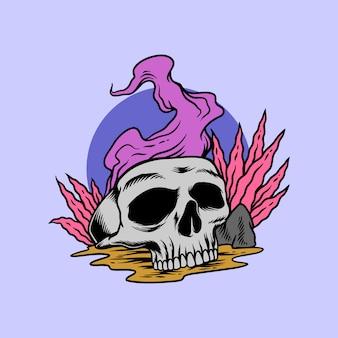 Ритуальный череп в стиле рисования руки