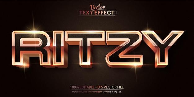 リッツィテキスト、暗いテクスチャ背景に光沢のある豪華なローズゴールドの編集可能なテキスト効果