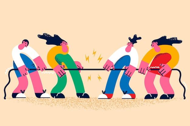 경쟁, 경연 및 스포츠 도전 개념. 서로 경쟁하는 벡터 삽화와 밧줄로 싸우는 경쟁을 하는 만화 캐릭터 그룹