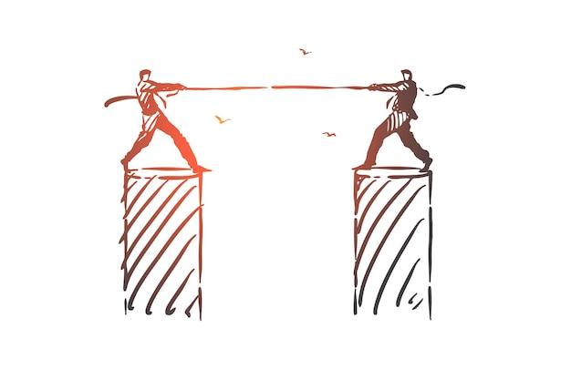 경쟁, 반대, 투쟁 개념 스케치 그림