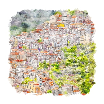 Rivello 마을 이탈리아 수채화 스케치 손으로 그린 그림