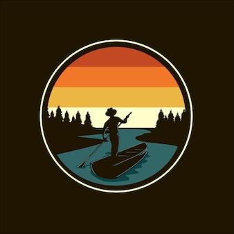 Река и лодка силуэт векторные иллюстрации