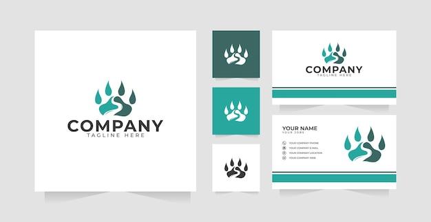 Дизайн логотипа когтя речного медведя и визитная карточка