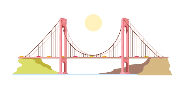 River bridge. transport. coast. illustration.