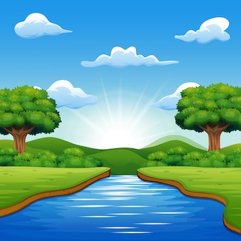 River cartoons in the middle beautiful natural scenery