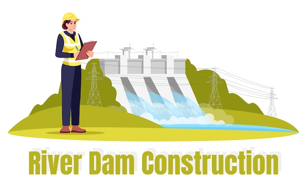 River dam construction semi  rgb color  illustration. ecological engineering. female ecologist in safety hat  cartoon character on white background with typography