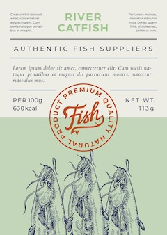 River fish abstract packaging design or label
