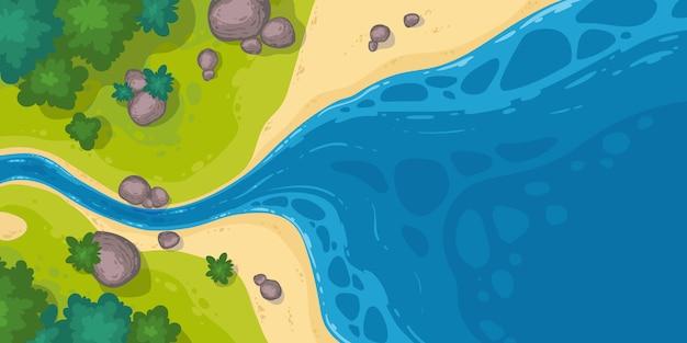 Река впадает в море или вид сверху на пруд, мультяшный узкий русло реки выходит на широкую воду с камнями