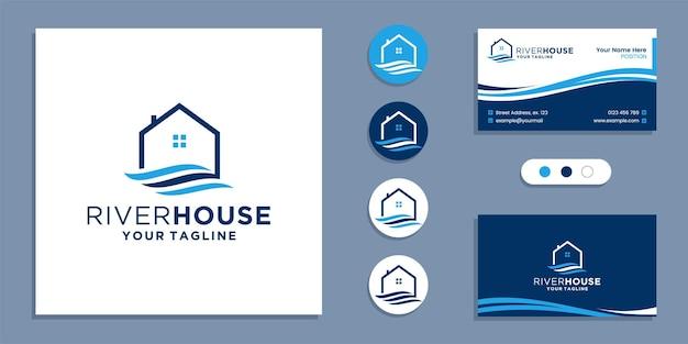 Речной поток с логотипом дома и вдохновением для дизайна визитной карточки