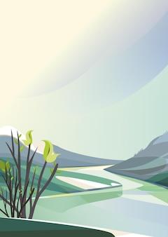 평야 사이를 흐르는 강. 세로 방향으로 봄 풍경.