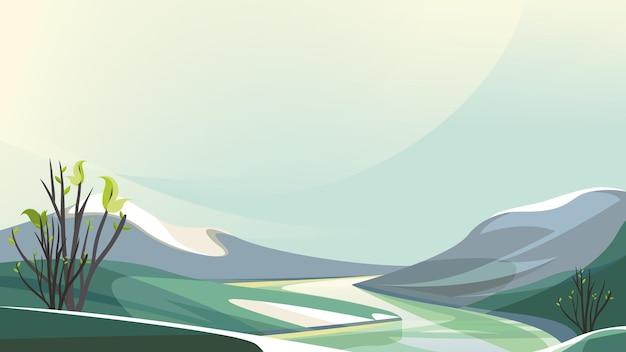 平野の間を流れる川