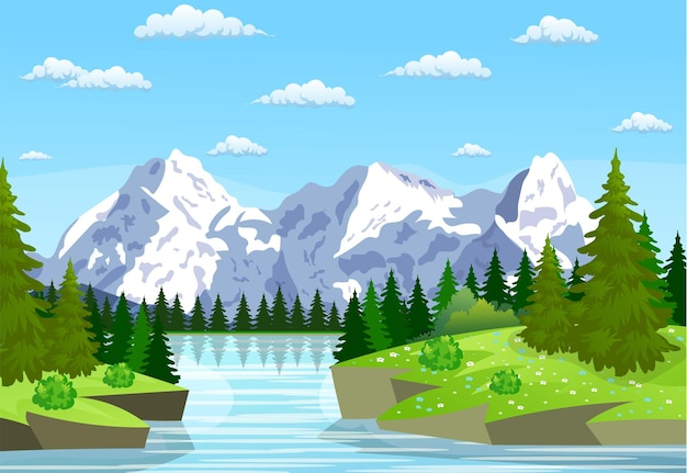 River flowing through the rocky hills. summer landscape with mountains