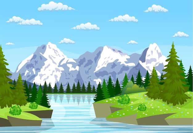 바위 언덕을 흐르는 강. 산 여름 풍경