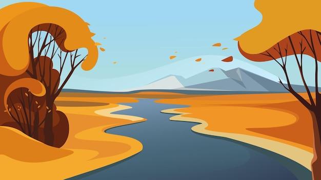 Река переходит за горизонт. красивый осенний пейзаж.