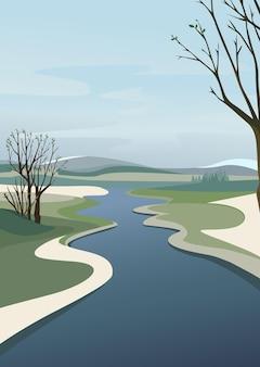 地平線を越える川。垂直方向の春の風景。