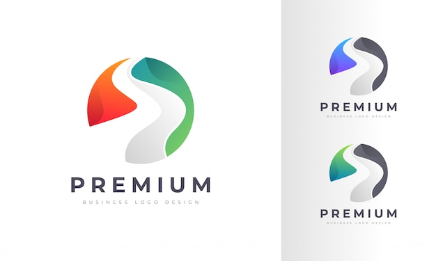 River and highway modern colorful logo design Premium Vector