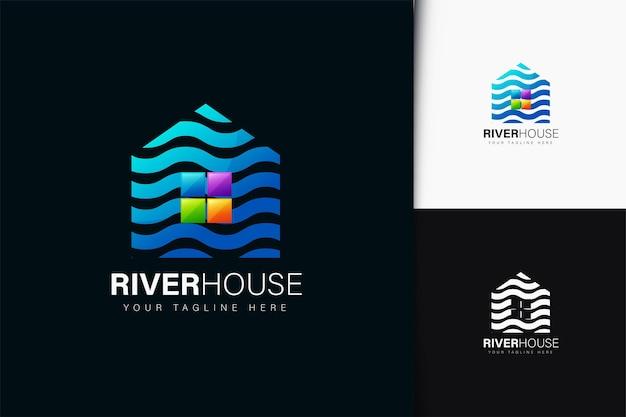 그라데이션이 있는 리버 하우스 로고 디자인