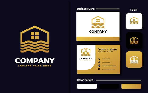 Шаблон логотипа river house и визитная карточка
