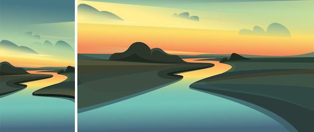 일몰 강 풍경입니다. 수직 및 수평 방향의 자연 경관 세트.