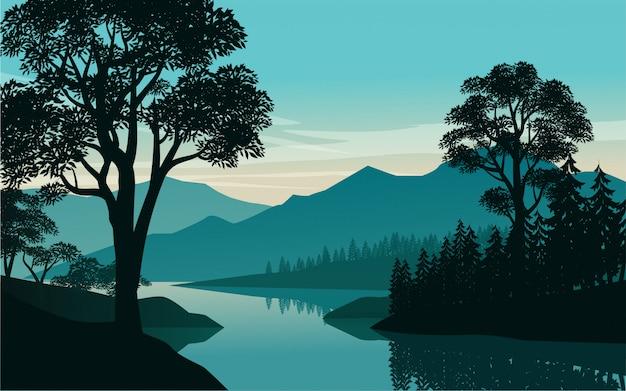 Речной пейзаж с лесом и горами в фоновом режиме