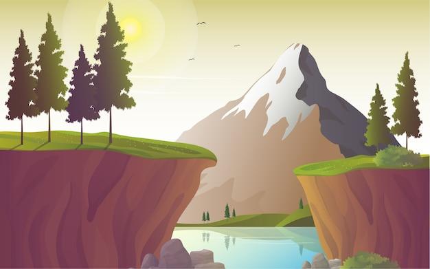 Речной пейзаж с горами и скалами