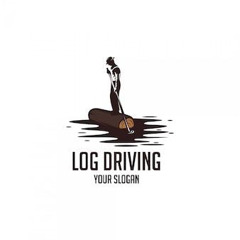 River log driving vintage logo