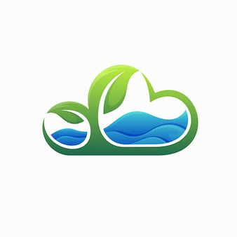 River logo with leaf and cloud concept