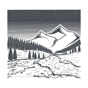 River and mountain illustration