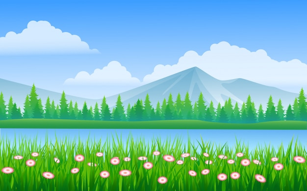 River and mountain landscape with grass and flowers