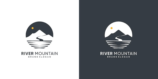 Креативный логотип river mountain с современной концепцией premium векторы