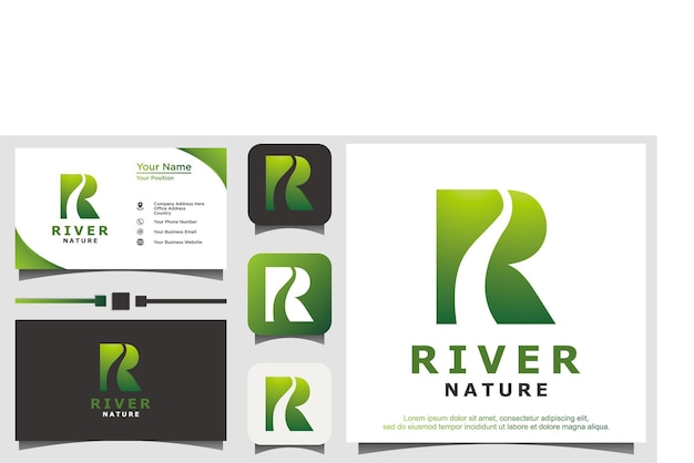 River nature with initial r logo design vector