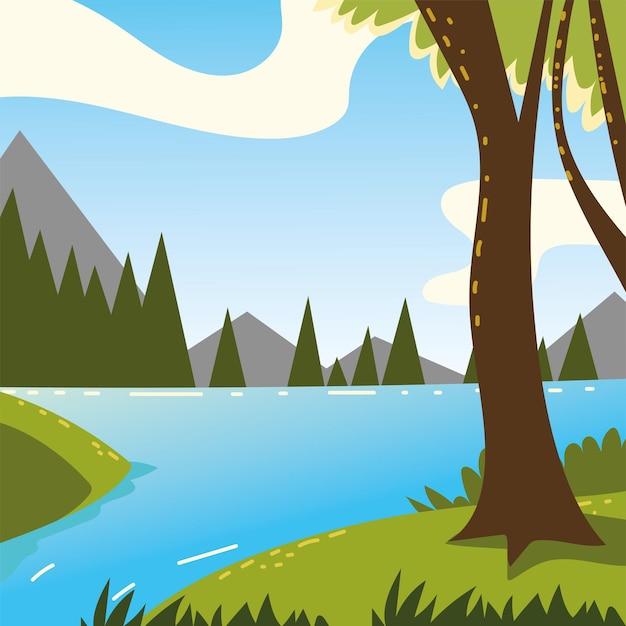 숲의 자연을 통과하는 강