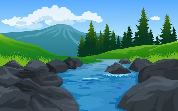 River and rocks in beautiful countryside