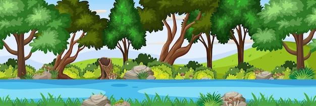 Речная сцена в лесу горизонтальная сцена