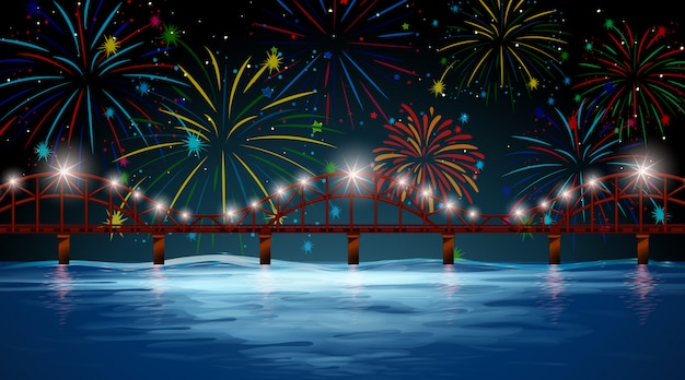 River scene with celebration fireworks