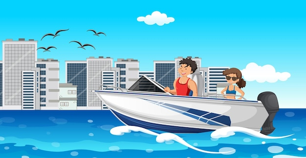 River scene with a couple on a speed boat Premium Vector