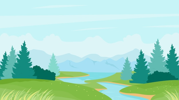 River summer landscape illustration