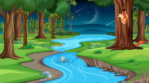 夜の森のシーンを流れる川