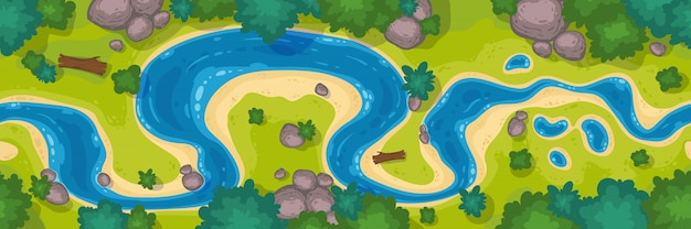 River top view, cartoon curve riverbed with blue water, coastline with rocks, trees and green grass