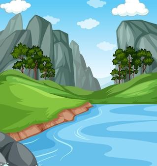 Fiume con la scena dell'illustrazione del paesaggio della natura della scogliera