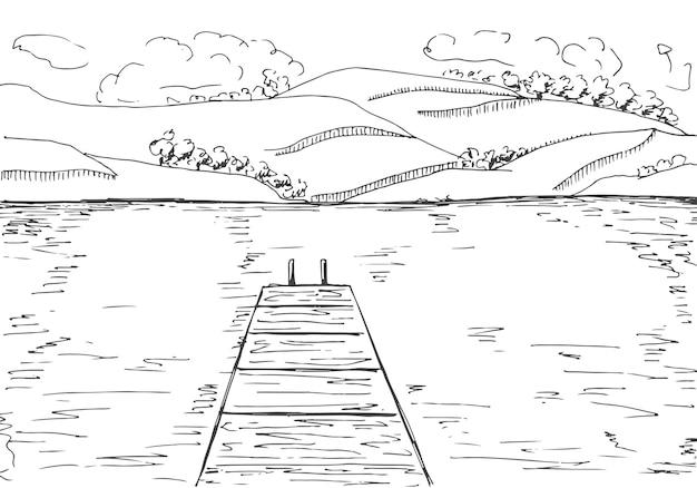 목재 부두와 강입니다. 호수 반대편에 산. 스케치 스타일의 그림입니다.