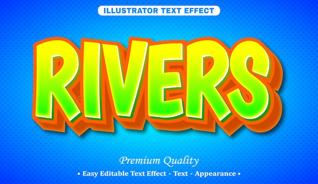 Rivers 3d editable text style effect