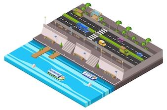 Riverside city isometric 3D of waterfront town traffic lane along ferry boat pie