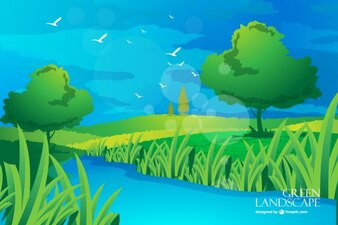 Riverside landscape with birds