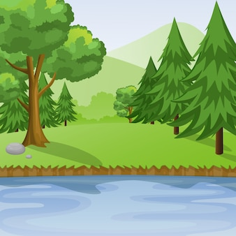 Riverside view with forest and mountains vector illustration