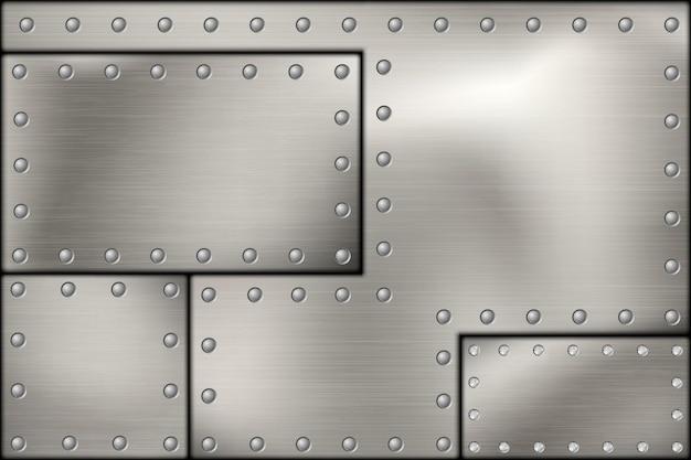 リベットで留められた鋼のリベットとネジの金属の背景。